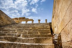 Ancient temple in the Lindos, Rhodes island, Greece. Ancient temple in the Lindos , Rhodes island , Dodekanes ,Greece . Stairs and castle Royalty Free Stock Photography