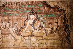 Ancient temple mural painting inside in Bagan Royalty Free Stock Image