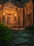 Ancient temple at night. Ruins of an ancient fantasy temple at night Royalty Free Stock Images