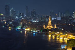 The ancient temple at night. (Wat Arun at ChaoPhraya River, Thailand Royalty Free Stock Images