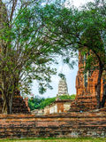 Ancient temple. Old buddha Image in Ancient temple at AYUTTHAYA Royalty Free Stock Photo