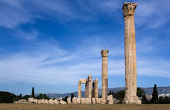 Ancient Temple of Olympian Zeus in Athens Greece o. Columns of Ancient Temple of Olympian Zeus in Athens Greece on blue sky background Stock Photography