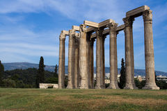 Ancient Temple of Olympian Zeus in Athens Greece o. Columns of Ancient Temple of Olympian Zeus in Athens Greece on blue sky background Royalty Free Stock Photos