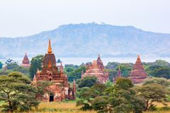 Ancient temple, pagodas and the Ayeyarwady River in Bagan. Myanmar Stock Images
