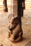 Ancient temple pillar sculptures Stock Photos