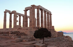 The ancient temple of Poseidon Stock Photos