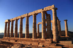 Ancient temple of Poseidon, Cape Sounion,  Greece Royalty Free Stock Image