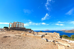 Ancient temple of Poseidon stock photo