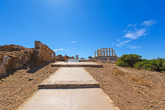 Ancient temple of Poseidon Royalty Free Stock Images