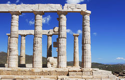 Ancient temple ruin in Greece. With deep blue sky on the background Stock Photo