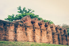 Ancient temple ruined wall. Vintage Tone. Royalty Free Stock Photos