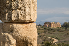 Ancient Temple Ruins in the Distance Stock Image