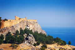 Ancient temple ruins of Lindos Acropolis, Greece Royalty Free Stock Photography