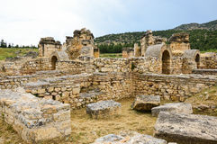 Ancient temple ruins. Ancient temple ruin in Hierapolis, Pamukkale, Turkey Royalty Free Stock Image