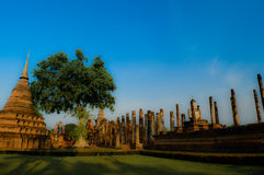 Ancient temple in Sukhothai Thailand. Wat Mahathat, temple of Buddha relics in Sukhothai Stock Photos