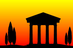 Ancient temple at the sunset Stock Photos