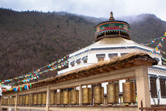 Ancient Temple in Tibet Style at Blue Moon Valley. (Shangri-La, China Royalty Free Stock Photos