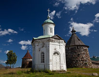 Ancient temple and the towers of the Solovetsky Monastery agains Royalty Free Stock Photos
