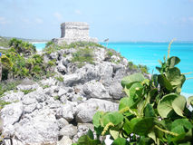 Ancient temple at Tulum - Mayan Riviera - Mexico Royalty Free Stock Images