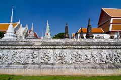 Ancient temple wall art. In Ayutthaya province, thailand Stock Photo