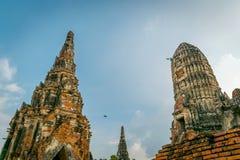 The ancient temple, Wat Chaiwatthanaram in Ayuthaya, Thailand. royalty free stock image