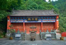 Ancient Chinese Temple in mountain Wudang in forest stock image