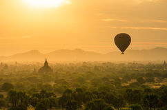 The Ancient Temples of Bagan(Pagan) with rising balloon above. Royalty Free Stock Image