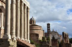 Ancient temples and churches from Roman Forum. Temples, columns, monuments and churches along the Via Sacra in the Roman Forum Stock Photos