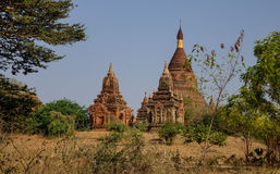 Ancient temples at Old Pagan, Myanmar Stock Images