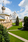 Ancient temples of Rostov Kremlin of Rostov Great Stock Photo