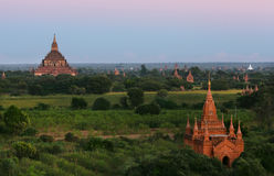 Ancient temples stupas in city of Bagan, Myanmar Royalty Free Stock Photo