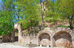 Ancient Terebovlia fortress ruins (Ukraine). Spring view of Terebovlia castle  ruins (Ternopil Oblast, Ukraine). Built in 1366 Stock Photography
