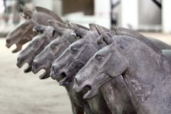 Ancient terra cotta horse. Ancient 2,000 year old terra cotta horse sculptures on display in Xian, China Stock Images