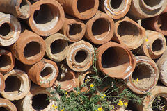 Ancient terra cotta pipe sections stock photography