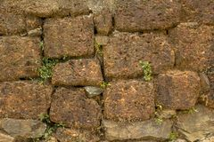 A ancient terracotta wall of stone bricks of different sizes with dry and green grass. natural rough surface texture. Ancient terracotta wall of stone bricks of stock photos