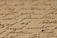 Ancient Text Background. Horizontal old handwriting in a brown paper Royalty Free Stock Images
