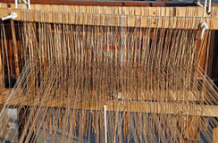 Ancient textile loom for weaving of yarns of cotton and wool Royalty Free Stock Image