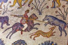 Ancient 6th Century Mosaic Memorial Church Moses Madaba Jordan. Ancient 6th Century People Animal Mosaic Memorial Church Moses Mount Nebo Jordan.  Mount Nebo Royalty Free Stock Photos