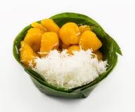 Ancient Thai dessert, Khanom Kai Pla, isolate on white Royalty Free Stock Photography