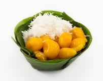 Ancient Thai dessert, Khanom Kai Pla, isolate on white Royalty Free Stock Photo