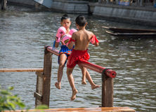 Ancient Thai fight above the water Royalty Free Stock Photos