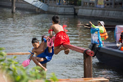 ancient Thai fight above the water  Royalty Free Stock Image