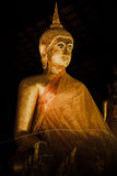 Ancient thai golden buddha in night. Royalty Free Stock Images