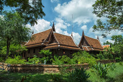 Ancient Thai house. Thai House Style and blue sky Stock Photography