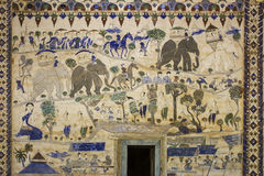 Ancient Thai Isan mural painting Stock Photo