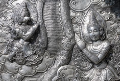 Ancient Thai Metal Temple Wall Sculpture Royalty Free Stock Images