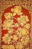 Ancient Thai Mural flower painting of flowers 2. Ancient Thai Mural flower painting of flowers on the temple's door Stock Images