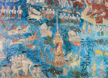 Ancient Thai mural painting Stock Photo