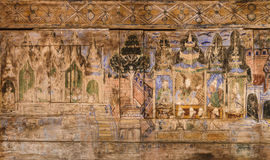 Ancient Thai Mural Painting On Wooden Temple Wall