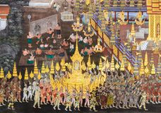 Native Thai Mural fresco of Ramakien epic stock photo